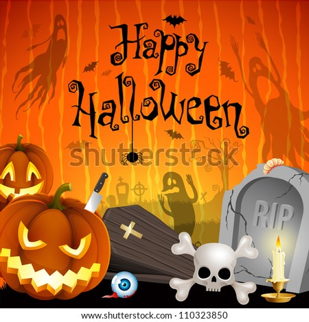 Halloween illustration with pumpkins, cemetery and place for text. Check my portfolio for vector version. - stock photo