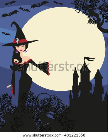 halloween invitation with beautiful witch