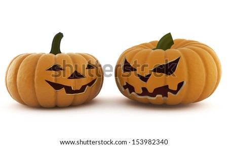 Halloween is evil and good on a white background isolated