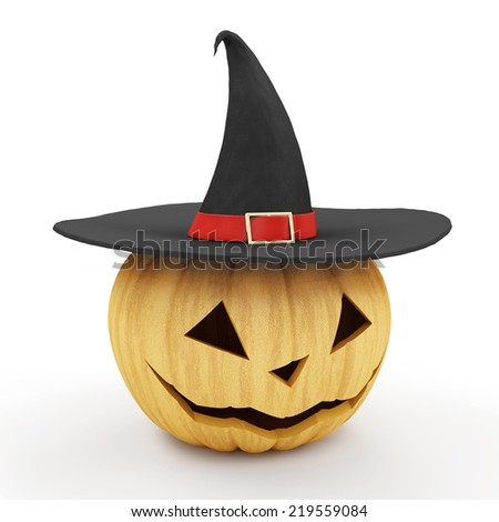 Halloween Jack O Lantern Pumpkin with Witch Hat isolated on white background - stock photo