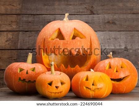 Halloween Jack-o-Lanterns - stock photo