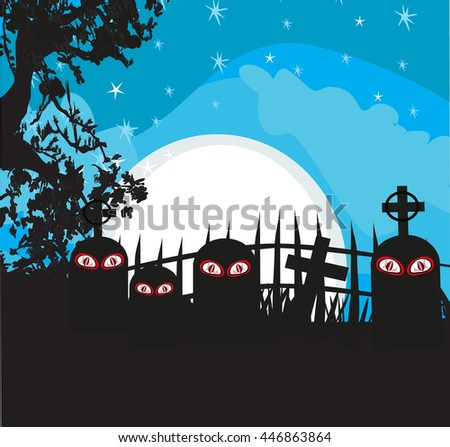 Halloween landscape with cemetery - stock photo
