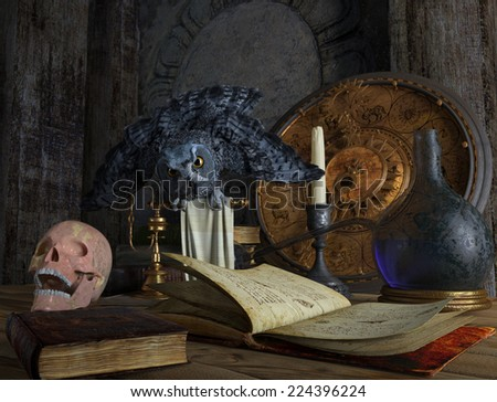 halloween magical still life with skull and owl holiday background - stock photo