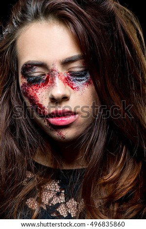 Halloween make up. Zombie girl. Horror. Halloween. Domestic violence.