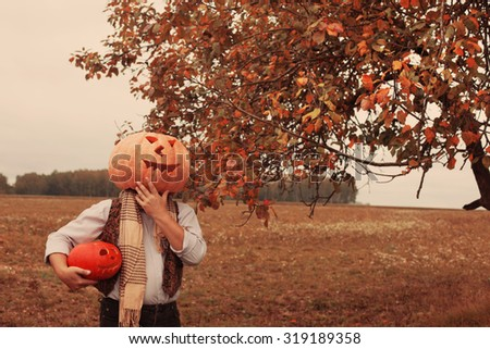 halloween men with pumpkin head - stock photo
