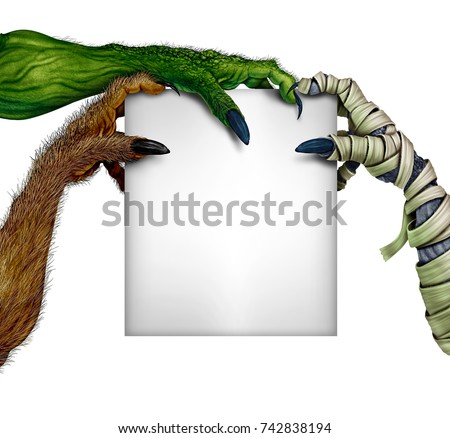 Zombie Holding Sign Creepy Monster Stock I...