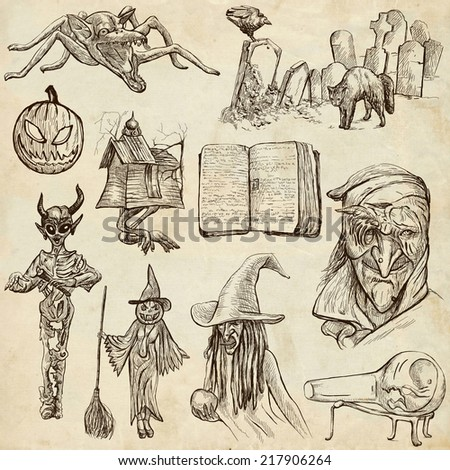 Halloween (Monsters, Magic and Fairy Tales) - Collection (no.6) of an hand drawn illustrations. Full sized hand drawn illustrations drawing on old paper. - stock photo