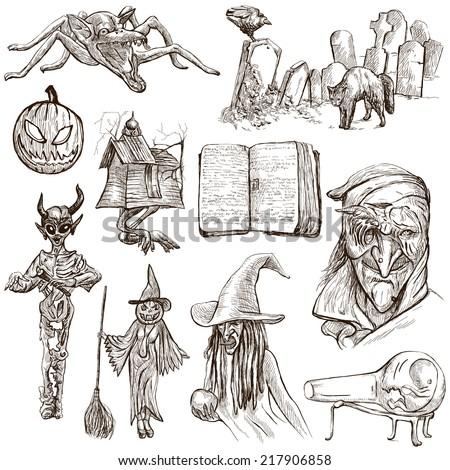 Halloween (Monsters, Magic and Fairy Tales) - Collection (no.7) of an hand drawn illustrations. Full sized hand drawn illustrations drawing on white. - stock photo
