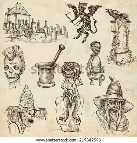 Halloween, Monsters, Magic (and Fairy Tales) - Collection (no.10) of an hand drawn illustrations. Full sized hand drawn illustrations drawing on old paper.
