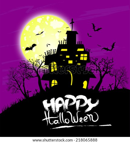 Halloween night background with castle and pumpkins - stock photo