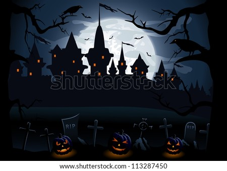 Halloween night background with castle and pumpkins, illustration - stock photo