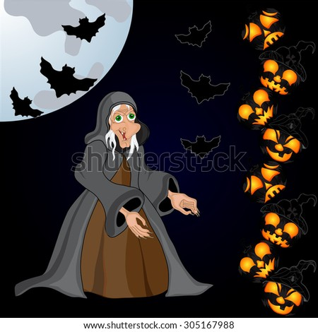 Halloween night background with creepy castle, witch and pumpkins