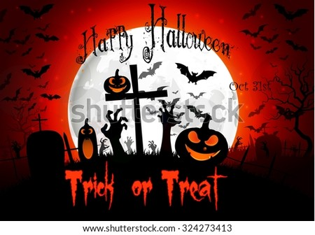 Halloween night background with hand, bats, pumpkin and full moon