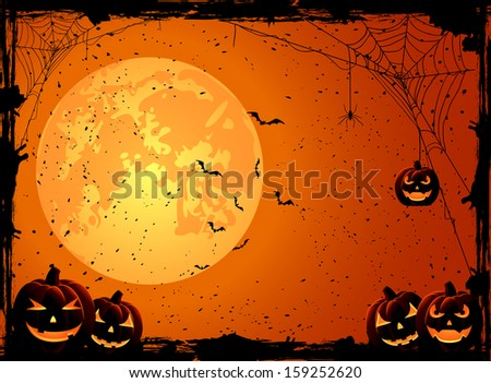 Halloween night background with Moon and Jack O' Lanterns, illustration. - stock photo
