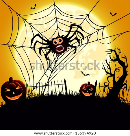 Halloween night background with spider and pumpkins, illustration