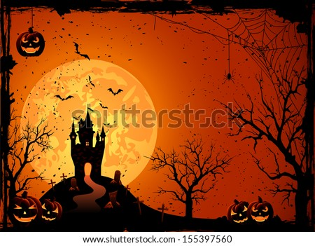 Halloween night, black castle on the moon background, illustration. - stock photo