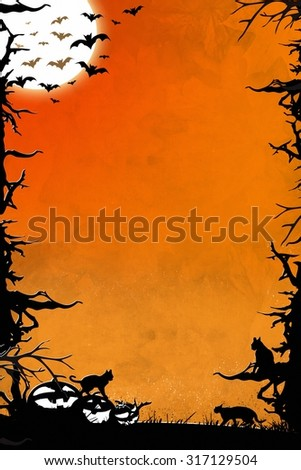 Halloween night orange vertical background graphic with trees, bats, cats and pumpkins - stock photo