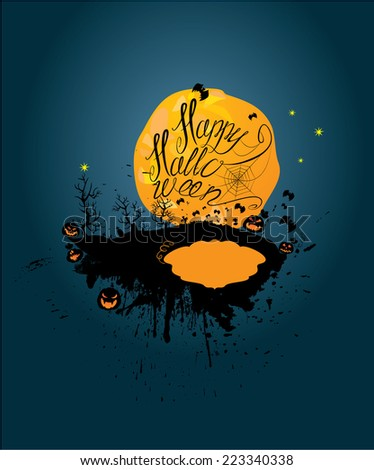 Halloween night: pumpkins silhouette on moon and sky background. Card with calligraphic text Happy Halloween and empty frame to write place and date of  party. Raster version - stock photo