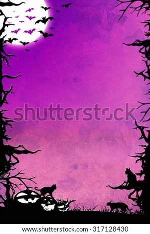 Halloween night purple vertical background graphic with trees, bats, cats and pumpkins - stock photo