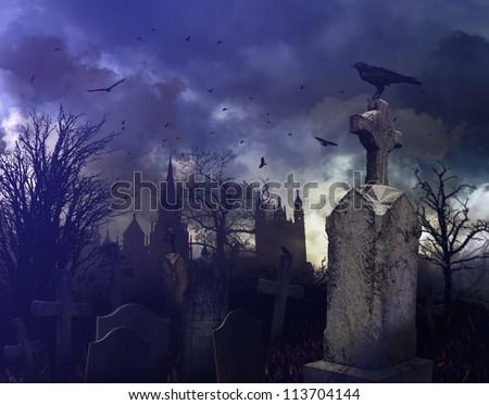 Halloween night scene in a spooky graveyard - stock photo
