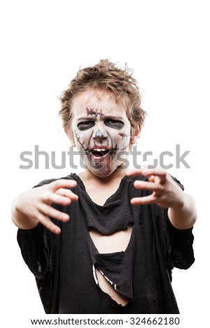 Halloween or horror concept - screaming walking dead zombie child boy reaching hand white isolated - stock photo