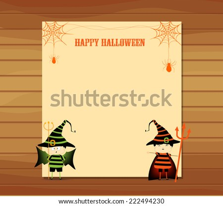 halloween parchment banner or card background - stock photo