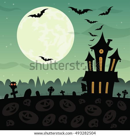 Halloween party background with haunted house, graves, bats, owl and full moon. Bitmap copy