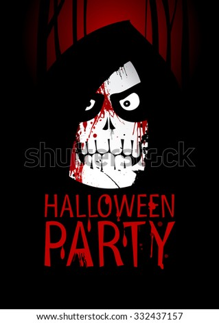 Halloween Party Design template, with death, rasterized version.