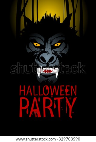 Halloween Party Design template with werewolf, rasterized version.