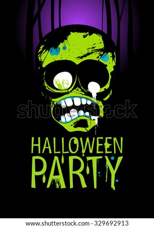 Halloween Party Design template with zombie, rasterized version.