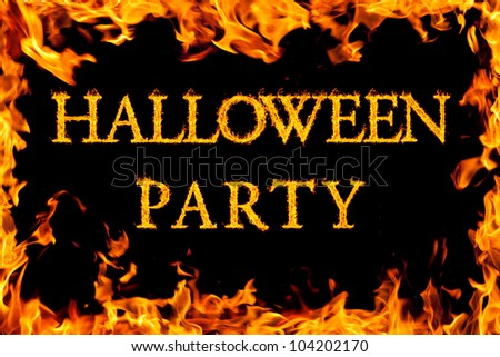 halloween party in fire frame - stock photo