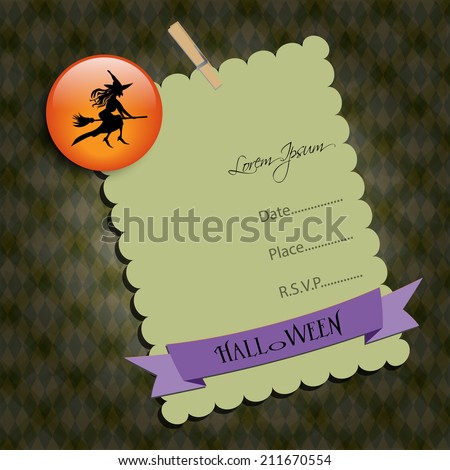 Halloween Party invitation. Green note,with witch. Raster illustration. - stock photo