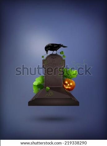 Halloween Party Invitation with grave, Raven, gravestone, pumpkin - stock photo