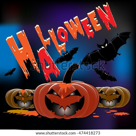 Halloween party, poster, halloween background. Pumpkins and bats for your design
