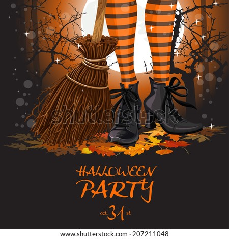 Halloween party poster with witch legs in boots and broomstick - stock photo