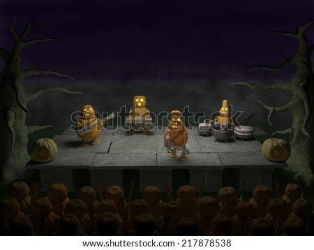 Halloween party (rock concert, show): pumpkins-musicians (guitar player, drummer, bass-guitarist, keyboardist,) with musical instruments entertain the audience on the cemetery at night - stock photo