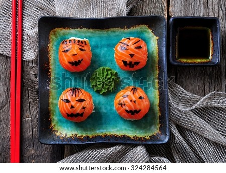 Halloween party sushi, Temari sushi, sushi balls - stock photo