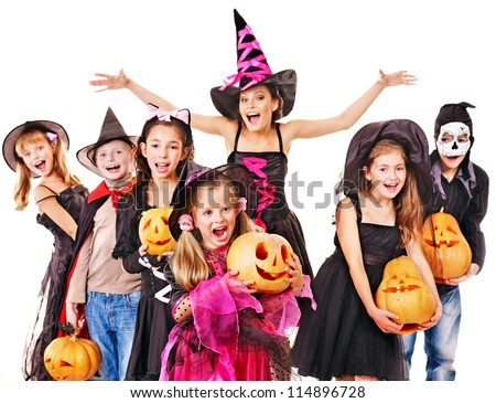 Halloween party with group children holding carving pumpkin. - stock photo