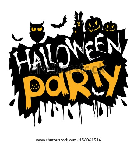 Halloween party with orange background - stock photo