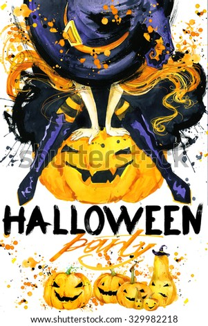 Halloween poster for the holiday with the symbols of the holiday. watercolor illustration  Girl witches and Halloween party text with the decor of Halloween pumpkins - stock photo