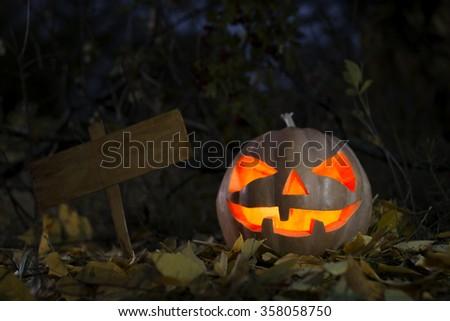 Halloween pumpkin at night - stock photo