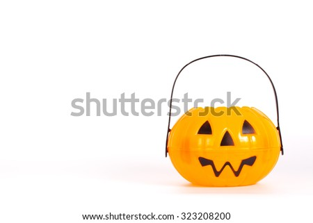 Halloween Pumpkin bucket for trick or treating - stock photo