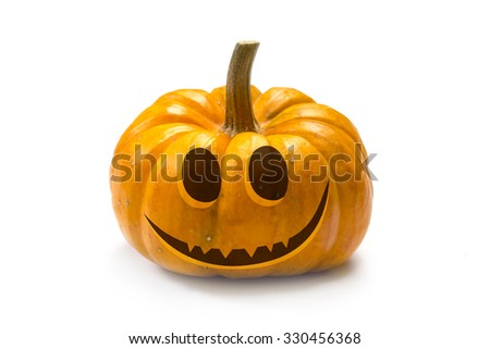 Halloween pumpkin - face of Scary Jack, isolated - stock photo