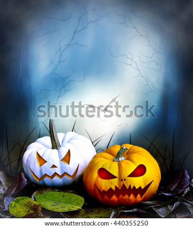 halloween pumpkin glowing under dark sunset, night sky. and carved jack o'lantern with scary face. over blue light  - stock photo