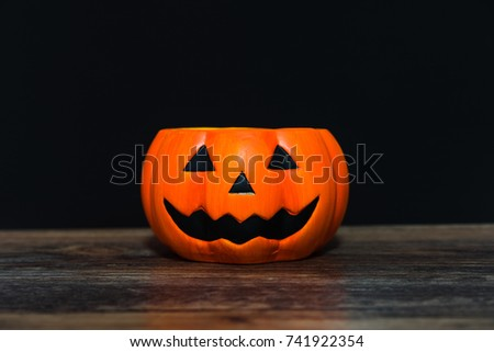 Halloween Pumpkin Head Jack Lantern On Black Background ,trick Or Treat