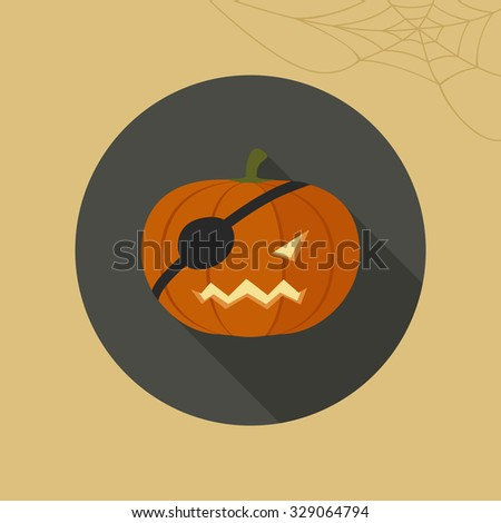 Halloween pumpkin icon in flat style. Raster version.
