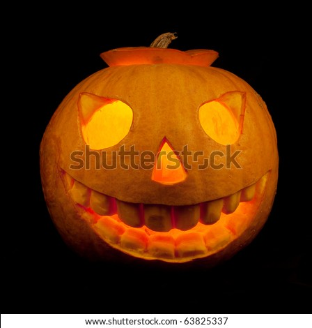 Halloween pumpkin isolated on a black background - stock photo