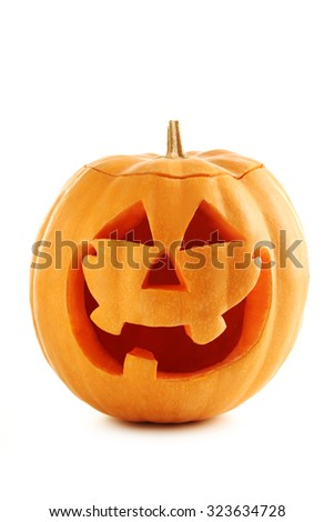 Halloween pumpkin isolated on a white - stock photo