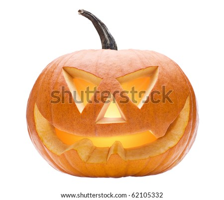 Halloween pumpkin isolated on white close up - stock photo