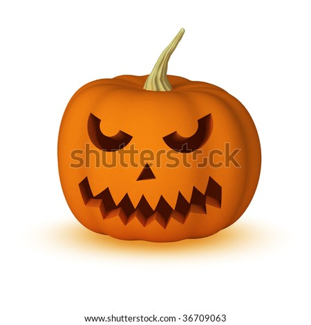 Halloween pumpkin isolated on white with shadow. See other faces in my portfolio.